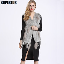 Real 100% Knitted Rabbit Fur Vest Fashion Women Waistcoat Raccoon Collar Gilet