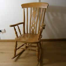 Solid Beech Wood Large Farmhouse Country Rocking Chair