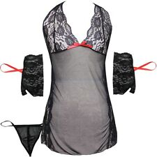 Adult Women Nightwear Underwear Babydoll Sleepwear lace Dress G-string Lingerie