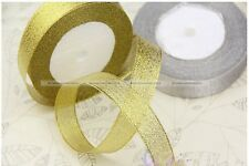 25yds/22m 20mm Wire Edge Glitter Gold Silvery Ribbon Gift Wrap S7