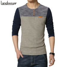 SPRING FASHION O NECK SLIM FIT LONG SLEEVE T SHIRT MEN CASUAL KOREAN LANGBEEYAR