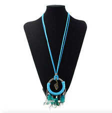 Feather Tassel Rhinestone Pendant Sweater Long Rope Chain Necklace Blue 26""