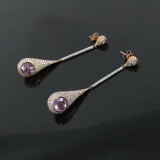 New 2.95ct Diamond & 3.70ct Amethyst 14K White & Rose Gold Dangling Drop Earring