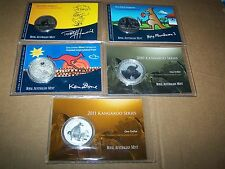 Kangaroo Artist Series Silver Frosted UNC 1$ 1OZ Fine Silver in Display Card