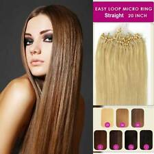 "20""Easy Loop Micro Rings Beads Tip Straight Remy Human Hair Extensions Straight"