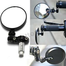 """1 SET MOTORCYCLE Black FOLDABLE BAR END REAR VIEW SIDE MIRRORS 7/8"""" HAND GRIPS"""