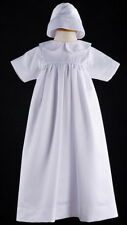 New White Infant Baby Girl Boy Satin Baptism Chistening Robe Gown with Bonnet