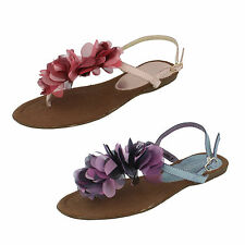 Ladies F0485 Toe Post Ankle Strap Sandals By Spot On £5.99