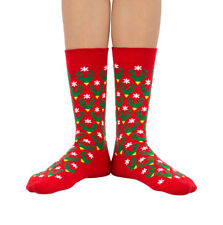 Caribou Christmas luxury combed cotton crew socks in red | Made by Ballonet
