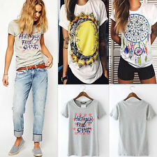 Women Boho Summer Loose Tops Short Sleeve Blouse Shirt