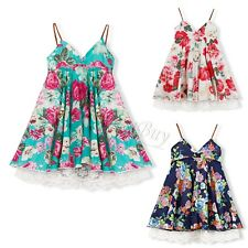 Baby Flower Girls Princess Floral Summer Dress Toddler Wedding Party Pageant