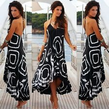 Women Fashion Sexy V-Neck Sleeveless Ruffle Hem Patchwork Long Asymmetrical C5