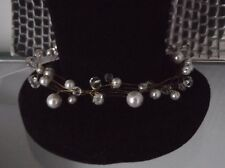 HANDCRAFTED PEARL CRYSTAL NECKLACE, TWISTED WIRE, IVORY,WHITE,SILVER, GOLD,AUST