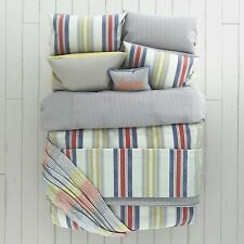 Red & Yellow Nautical Striped Duvet Cover Set - ROXY -  Curtains or Throw