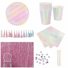 We Heart Pastels, Pink Iridescent Party Tableware, Decorations & Bundle