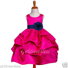 FUCHSIA/NAVY BLUE WEDDING PICK UP FLOWER GIRL DRESS 6M 9M 12M 18M 2 4 6 8 10 12