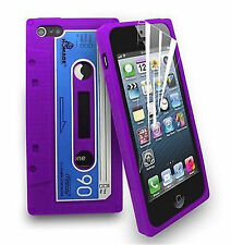 For iPod Touch 4 4th Gen Retro Cassette Tape Purple Soft Silicone Gel Case Cover