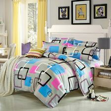 Digital Square Singl Double Queen King Bed Set Pillowcase Quilt Duvet Cover Osbt