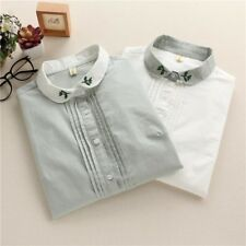 Womens Floral Embroidered Collar Front Detail Blouse Tops Buton Down Shirt SML