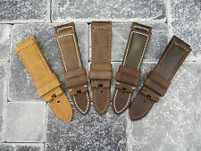 22mm Genuine Leather Strap Brown Assolutamente Tang Buckle Watch Band PANERAI 5C