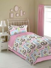 Girls Pink & White Peace and Love Signs Bedding Comforter Set - ALL SIZES