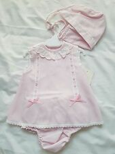 Baby Girls Romany Spanish Pink 3 Piece Dress Knickers Bonnet  Outfit Set
