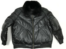 MENS GENUINE LEATHER V BOMBER JACKET FOX FUR COLLAR LAMBSKIN HIP-HOP L TO 4XL
