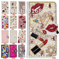Magnetic Bling Luxury Diamonds Crystal PU Leather wallet flip Slots Cover Case S