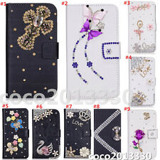 Magnetic Bling Luxury Diamonds Crystal PU Leather wallet flip Stand Cover Case S