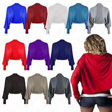 New Ladies Batwing Shrug Long Sleeve Womens Jersey Bolero Cardigan Top Size 8-32
