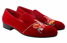 Billionaire Couture Men's Maroon Viscose Loafers Shoes with front Embroidery