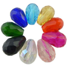 20pcs Faceted Teardrop Water Drop Glass Crystal Loose 12x8mm Spacer Beads Charms