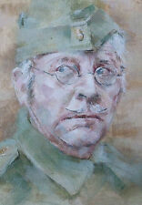 Dads Army Star Clive Dunn Corporal Jones Portrait Original Acrylic Painting