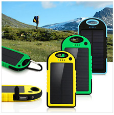SOLAR CHARGER DUAL USB POWER BANK 5000MAH WATERPROOF PORTABLE BATTERY WITH LED