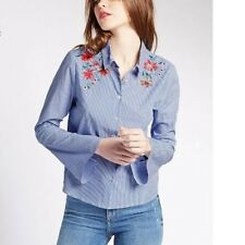 New Womens Ladies Blue Striped Floral Embroidered Blouse Tops Shirt Size SML