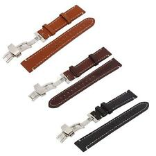 Watch Band Strap Black Brown Genuine Leather Butterfly Clasp Men Women 18-22mm
