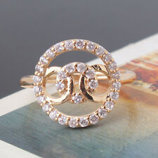 White sapphire 24k yellow gold filled Pretty  charming knot ring  SizeJ-R