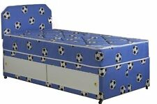 3FT BY 6FT short single boys divan bed mattress and headboard football bed