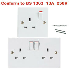 New Double Single Wall Socket 1 2 Gang Switched Socket Electric Wall Plug 13 Amp