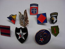 Army & Air Force pin badges. New listings. USA and British Military