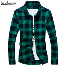 NEW FASHION MEN SHIRT LONG SLEEVE SLIM FIT PLAID COTTON MENS DRESS SHIRTS C2278