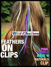 Clip Feather Hair Extensions NEW Naturals Turquoise Purple Blue Pink w/Prof Clip
