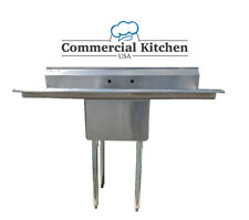 """Stainless Steel 1 Compartment Sink 72"""" x 30"""" with 2 Drainboards"""
