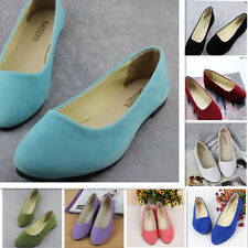 Women's Casual Ballet Suede Shoes Ballerina Flats Slip On Comfortable Loafers