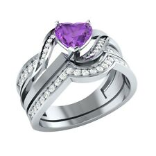 1.05 ct Natural Amethyst & Diamond Solid Gold Engagement Wedding Bridal Ring Set