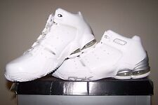 Men's NEW Reebok RBK Step Back White Basketball Shoes with Silver Trim