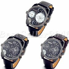 Military Army Dual Time Zone Dial Leather Band Mens Sport Quartz Wrist Watch New