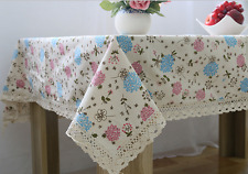 Quality Pink Blue Flower Bar Coffee Table Cotton Linen Cloth Covering Ous