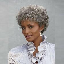 Short Silver Grey Curly Wig For Black Women Ombre Gray Hair short Curly Wig