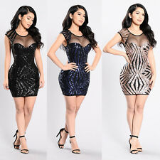 Sexy Women Sheer Mesh Sequins Bodycon Mini Dress Evening Party Cocktail Clubwear